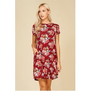 🎁Rose Floral Print Dress Relaxed Fit Short Sleeve